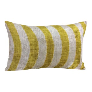 Avocado And Cream Silk Velvet Accent Pillow For Sale