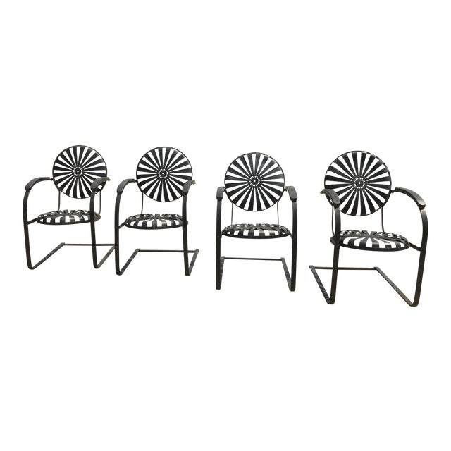 Francois Carre French Sunburst Garden Chairs Circa 1930 - Set of 4 For Sale
