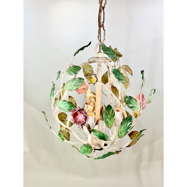 Mid-Century Modern 1960 Italian Tole Cage Chandelier For Sale - Image 3 of 5
