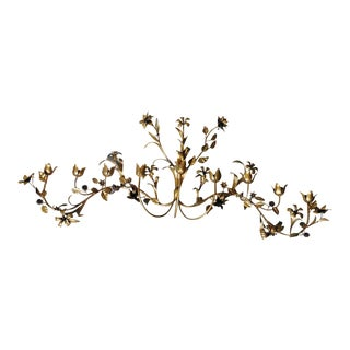 Vintage Italian Tole Brass Flower Wall Sconce For Sale
