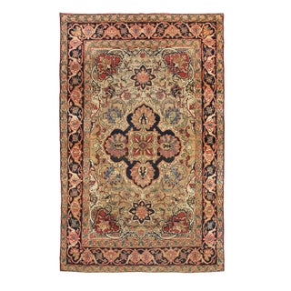 1900s Antique Kerman Lavar Pink and Beige Wool Persian Rug- 4′1″ × 6′8″ For Sale