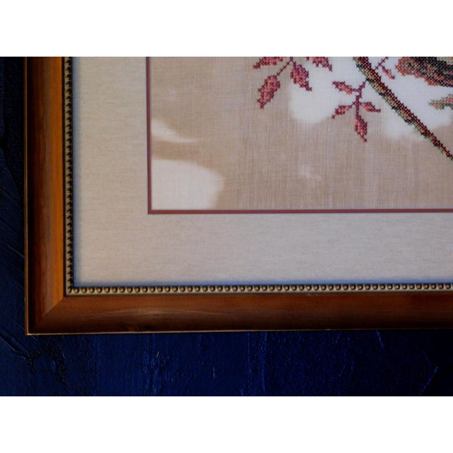 Late 20th Century Embroidered Needlepoint of a Pheasant, Framed For Sale - Image 4 of 6