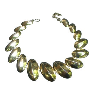 Yves Saint Laurent Sleek Gilt Metal Link Necklace C 1980s For Sale