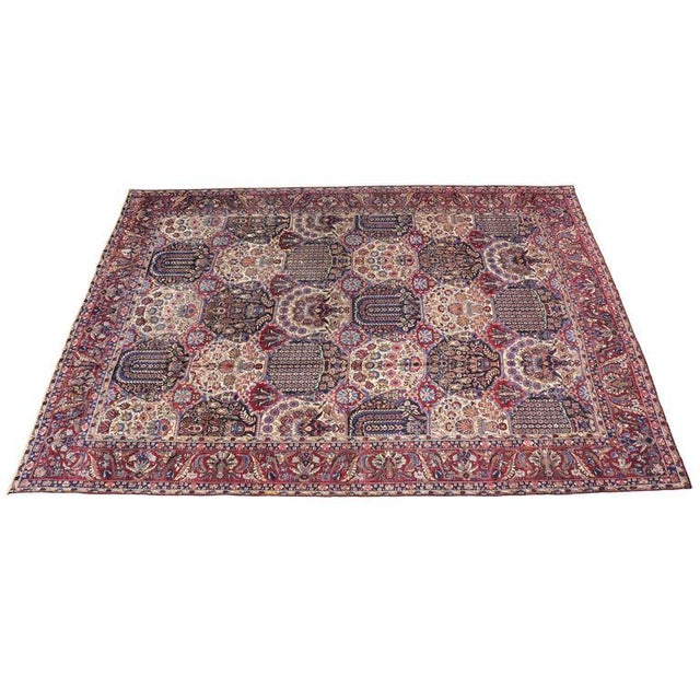 Oversize Antique Persian Yazd with Garden Design in Jewel-Tone Colors For Sale - Image 4 of 10