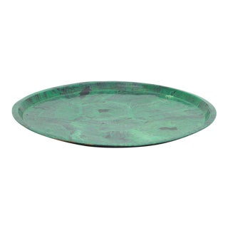 Large Round Vintage Faux Painted Brass Tray For Sale