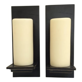 Candle Pillar Bronze Wall Sconces - Pair For Sale