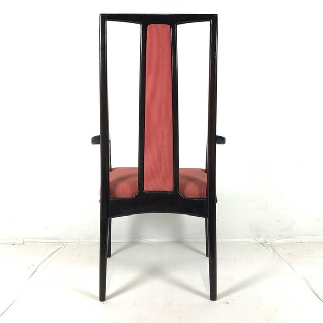 Pair of Sleek Mahogany Dining / Occasional Arm Chairs by John Stuart For Sale - Image 9 of 12