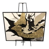 Image of Framed Abstract Black and Gold Painting on Canvas For Sale