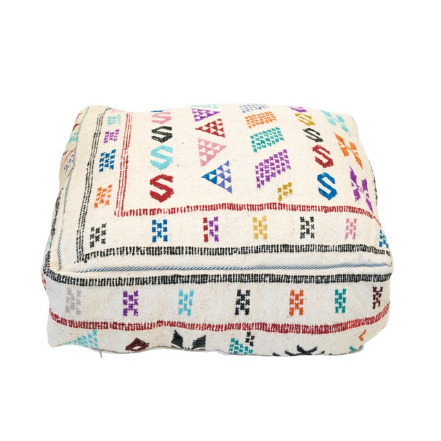 Cream Moroccan Embroidered Wool Pouf - Image 3 of 3