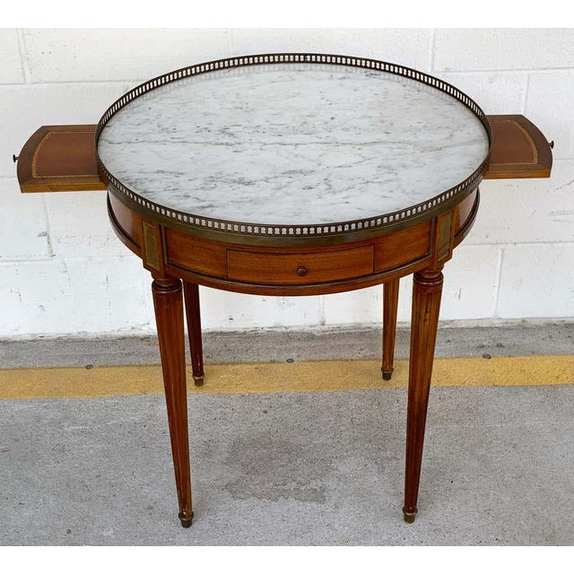 Louis XVI Style Carrera Marble-Top Bouillotte Table, Stamped Made in France For Sale - Image 4 of 10