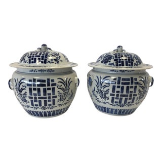 Chinese Blue and White Ginger Happiness Jars - a Pair