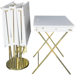Set of Four Charles Hollis Jones Lucite and Brass Tray Tables For Sale