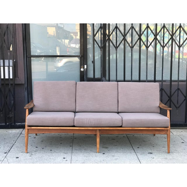 Wood Mid Century 3 Seater Sofa For Sale - Image 7 of 12