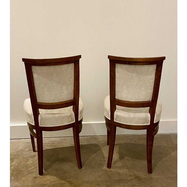 Linen Italian Walnut Tea Table and Chairs - 3 Pieces For Sale - Image 8 of 10