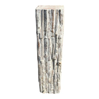 Rustic White Pedestal Plant Stand For Sale