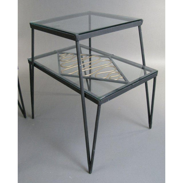 Glass Vintage Pair of Iron and Gilt Ribbon Tables For Sale - Image 7 of 8
