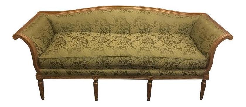 Louis XVI Style Distressed Gilt Sofa For Sale