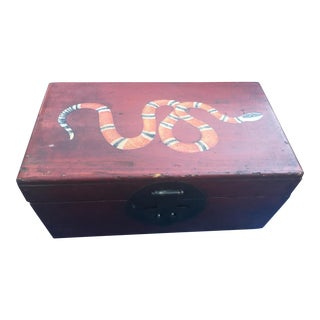 Antique Wooden Box W/ Painted Snake For Sale