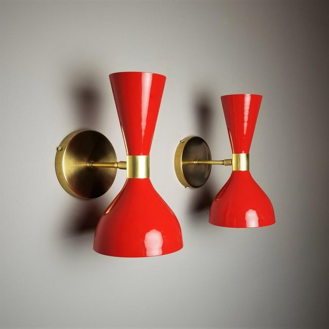"French Italian Modern Brass and Enamel ""Ludo"" Wall Sconces Blueprint Lighting - A Pair For Sale - Image 3 of 8"