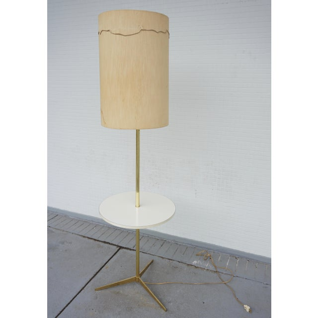 Vintage Mid-Century Paul McCobb Style Brass Floor Lamp Table For Sale - Image 11 of 11