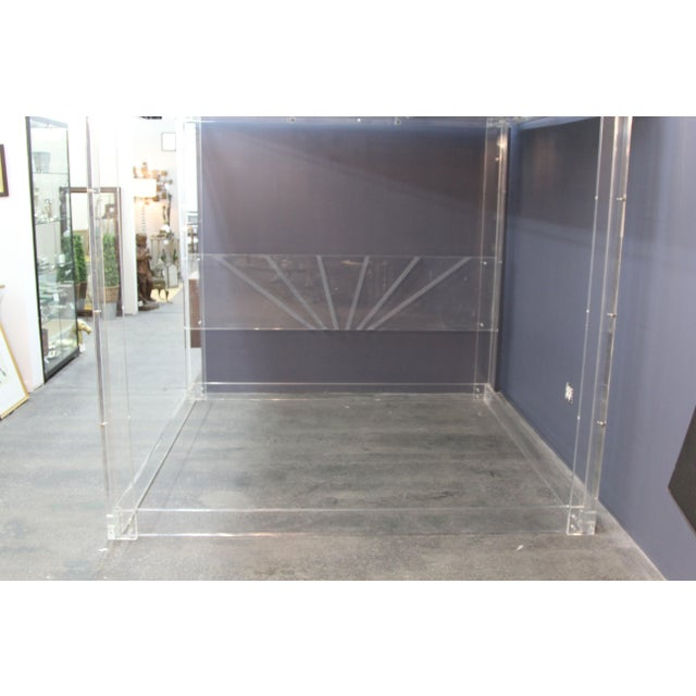 Transparent Lucite and Mirrored Top King Size Bed For Sale - Image 8 of 11