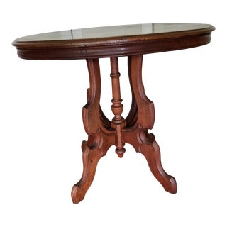 19th Century Victorian Oval Pedestal Side Table For Sale