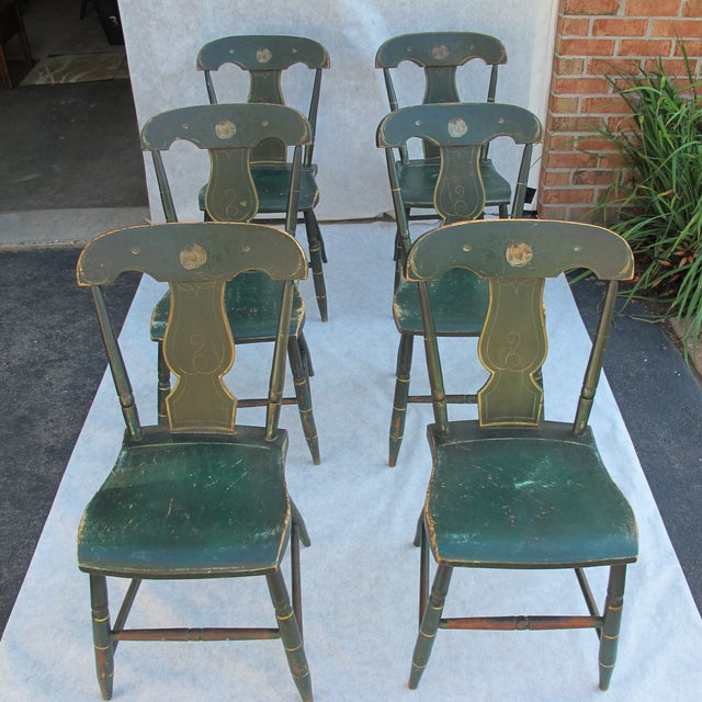 Antique Painted Pennsylvania Plank Chairs - S/6 - Image 2 of 11