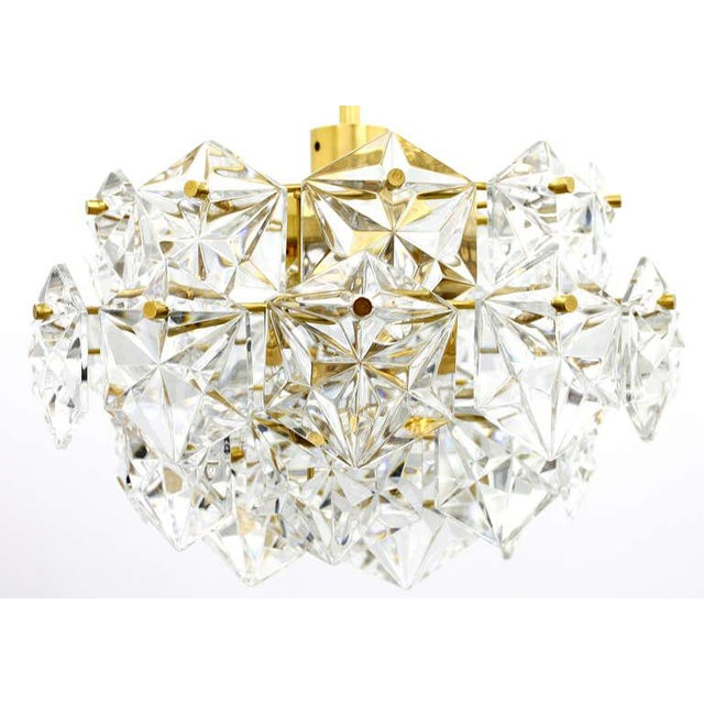 Kinkeldey Crystal Glass Chandelier Gilded Metal, 1960s For Sale - Image 9 of 9