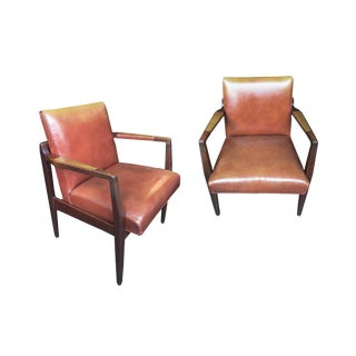 Restored Mid-Century Leather Armchairs in the Style of Jens Risom - a Pair For Sale