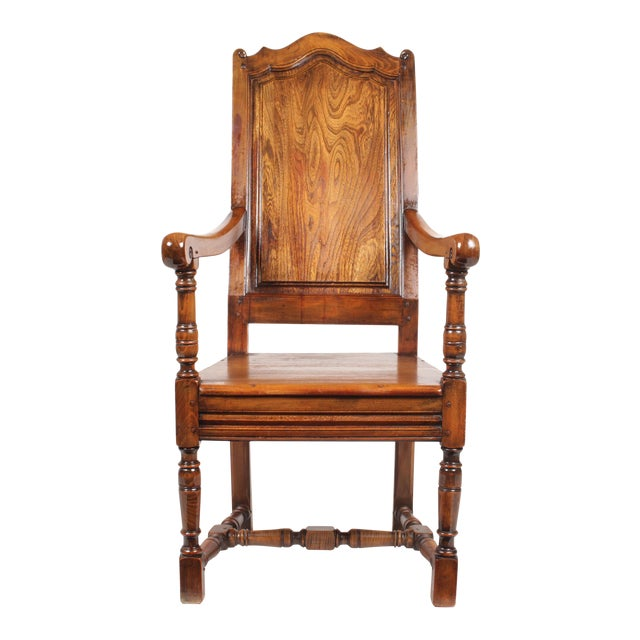 Elizabethan-Style Raised Panel Armchair - Image 1 of 8