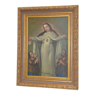 Spanish Colonial Oil Painting Blessing Madonna Mid 20th Century