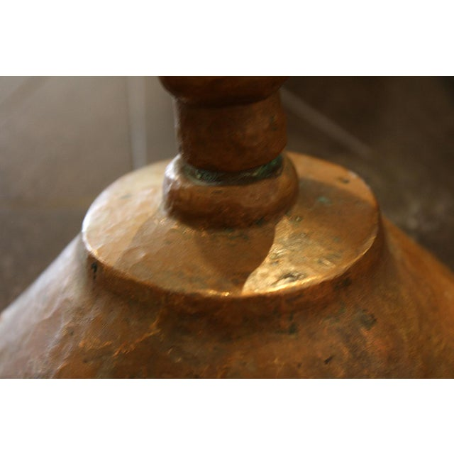 Primitive Copper Candlestick For Sale - Image 3 of 4