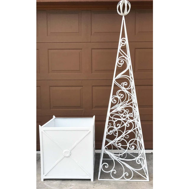 Pair of French Art Deco Neoclassical Wrought Iron Obelisk Planters For Sale - Image 10 of 12