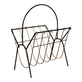 Mid-Century Black and Gold Wire Magazine Rack For Sale