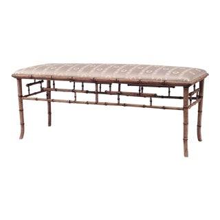 English Regency Style '20th Century' Faux Bamboo Painted Bench For Sale