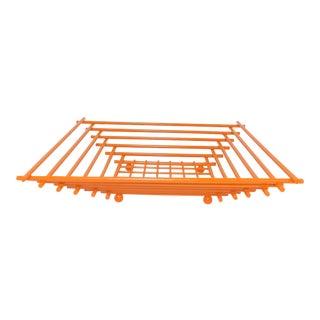 Mid-Century Modern Geometric Orange Metal Wire Fruit Dish
