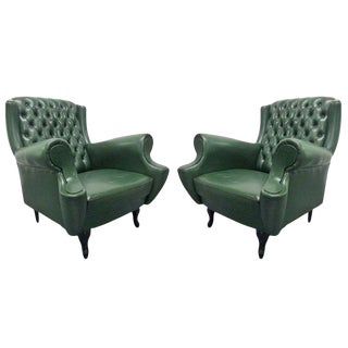Pair of Italian Tufted Chairs For Sale