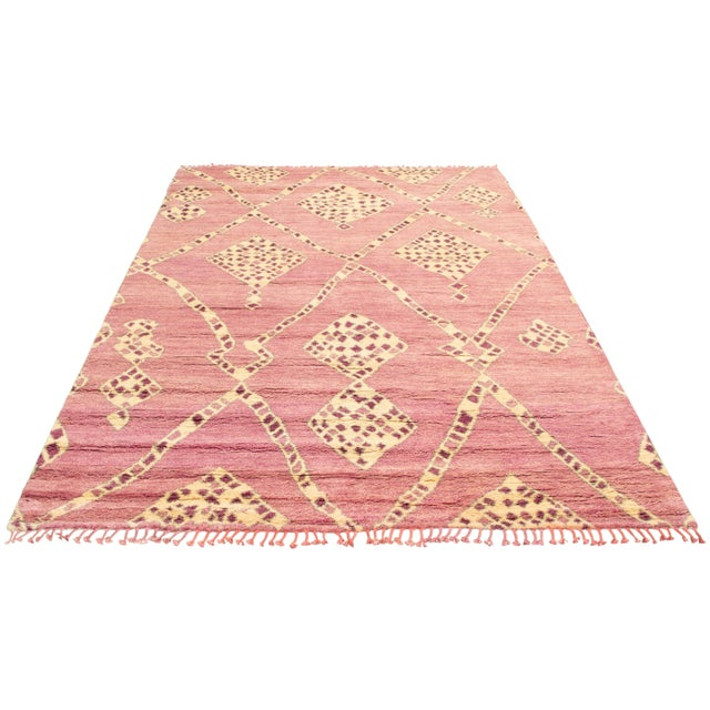 """Moroccan Pink Wool Rug-9'x12'7"""" For Sale - Image 6 of 7"""