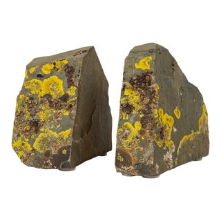 Sierra Nevada Shale + Lichen Bookends - a Pair For Sale