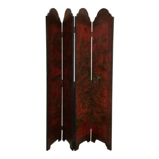 Red Four Panel Wood Screen With Asian Landscape For Sale