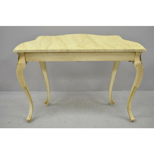 Gold 20th Century French Louis XV Rococo Cream & Gold Gilt Console Table For Sale - Image 8 of 11