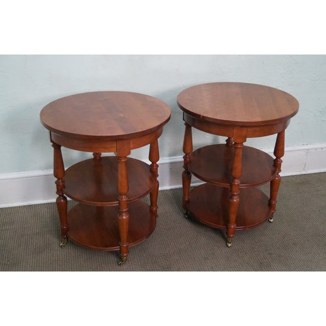 Harden Solid Cherry Three Tier Side Tables - Pair - Image 3 of 10
