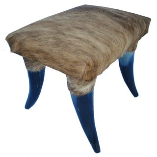 Cowhide and Horn Foot Stool