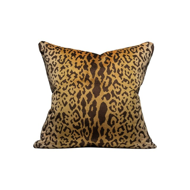 Transitional Scalamandre Silk Velvet Leopardo Pillow, Gold and Black For Sale - Image 3 of 3