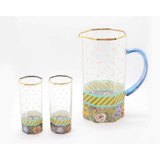 1990s Vintage MacKenzie Childs New York Floral Pitcher & Glassware - Set of 3 For Sale - Image 5 of 5
