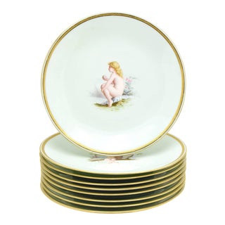 Set of Nine Minton 19th Century Hand-Painted Dessert Plates, Antonin Boullemier For Sale