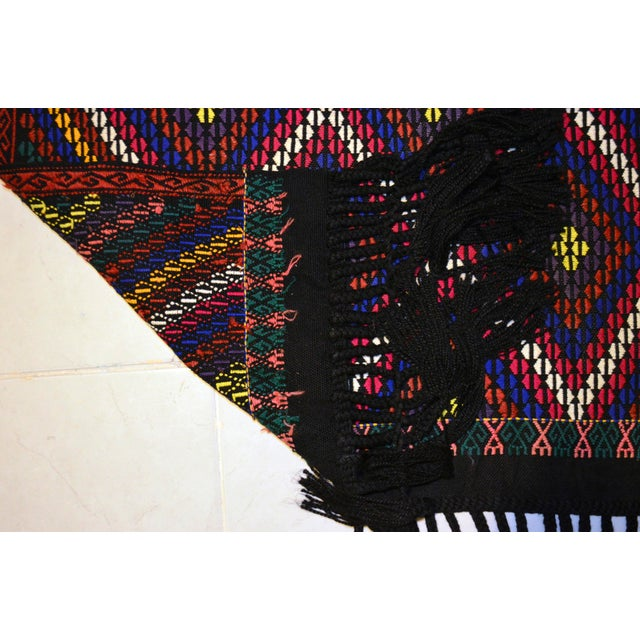 Blue Turkish Hand Woven Kilim Rug/Braided Wall Hanging - 3′2″ X 3′5″ For Sale - Image 8 of 9