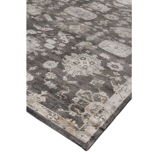 Wood Chester Hand knotted Bamboo/Silk Midnight Rug-8'x10' For Sale - Image 7 of 8