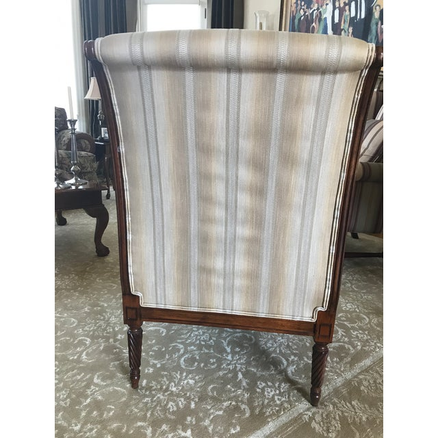 Drexel Heritage Drexel Heritage Neutral Stripe Bergere Chair For Sale - Image 4 of 9