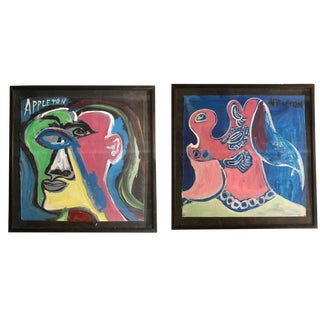 Original Abstract Man and Woman Portrait Paintings by Jason Appleton - Set of 2 For Sale